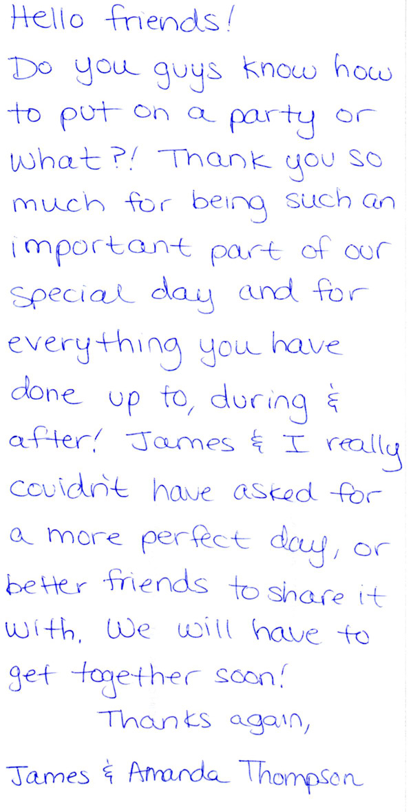 Wedding services reviews handwritten letters by real clients expocarfo Choice Image