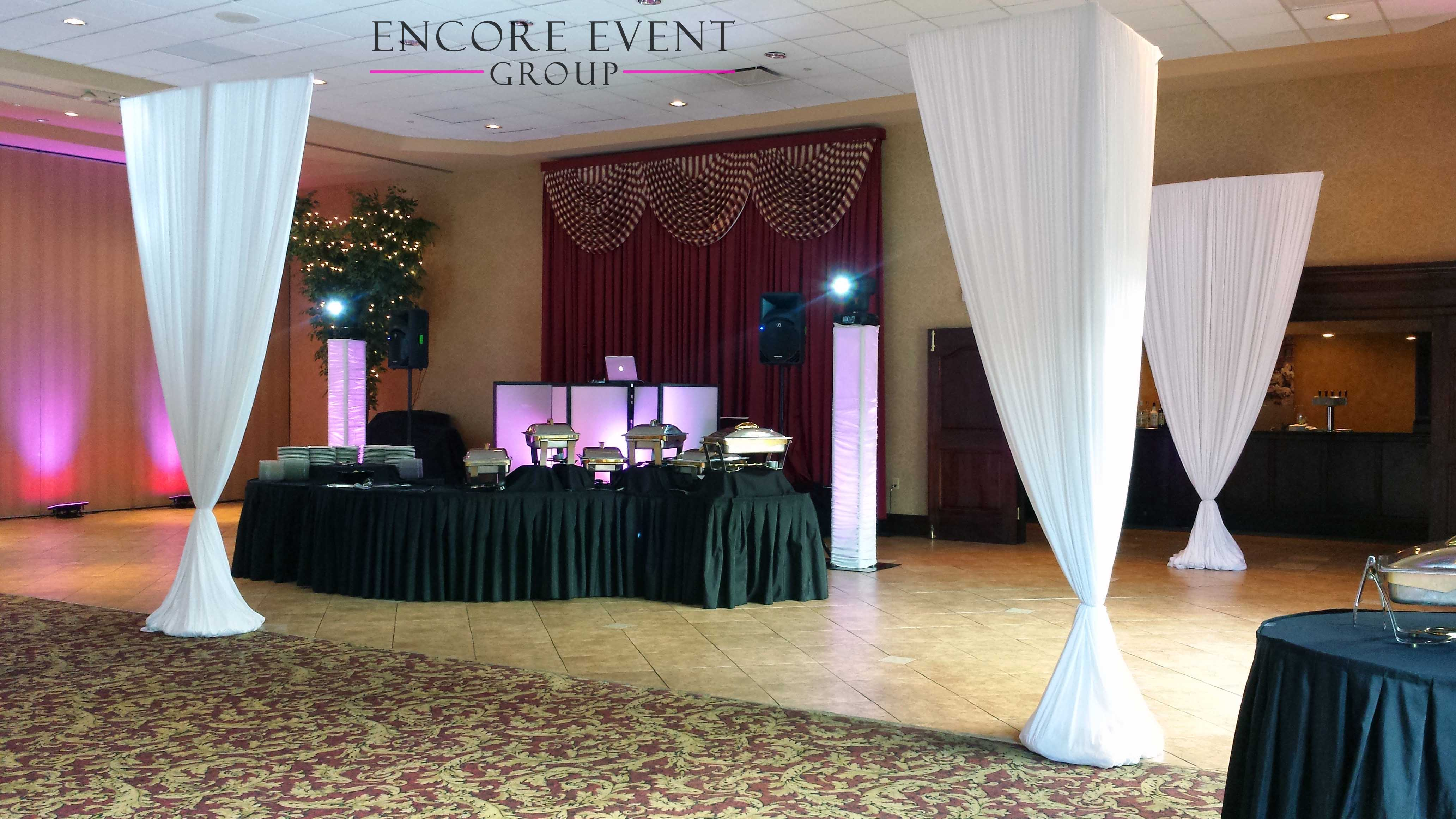 sequin gorgeous drape table pipe pin in drapes rose to gold sweetheart half and moon draping backdrop a