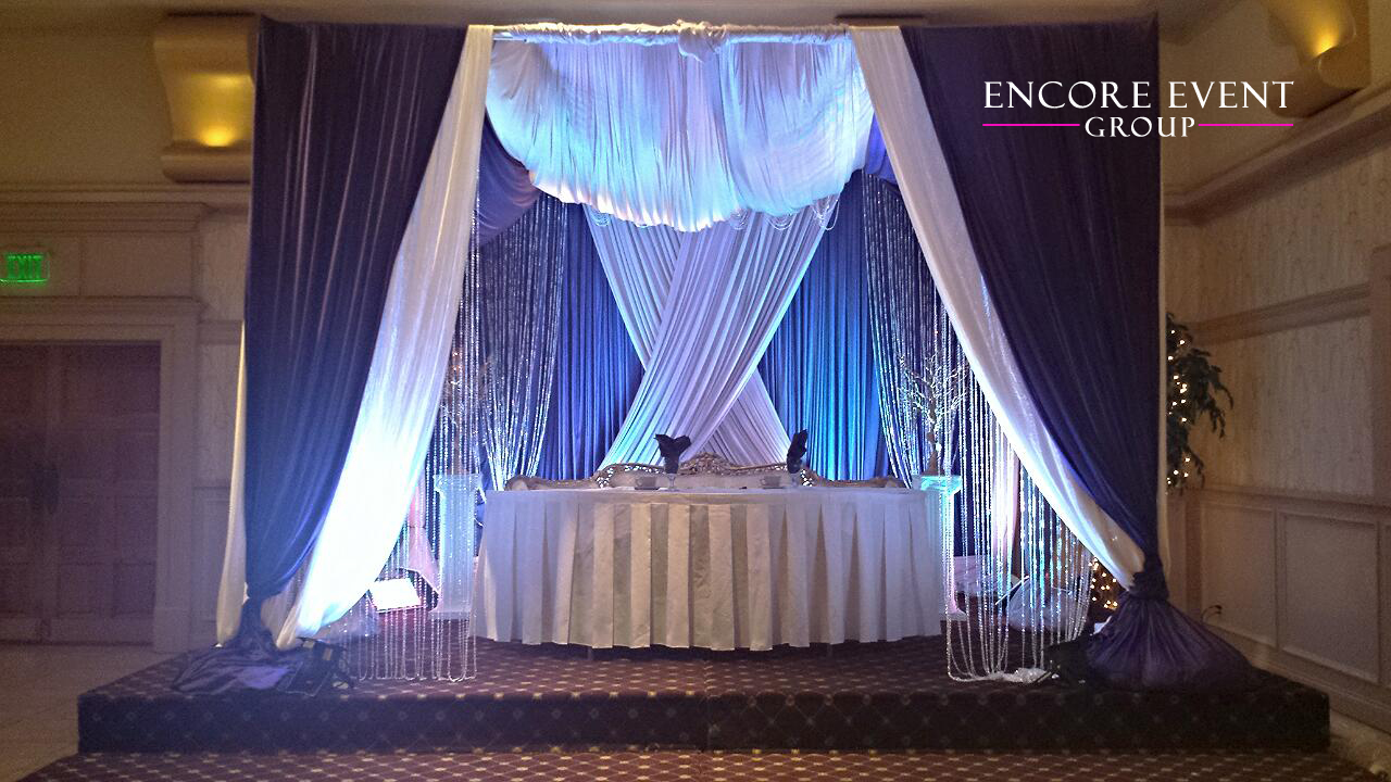 Wedding Reception Head Table Purple Lavender Draping Encore Event