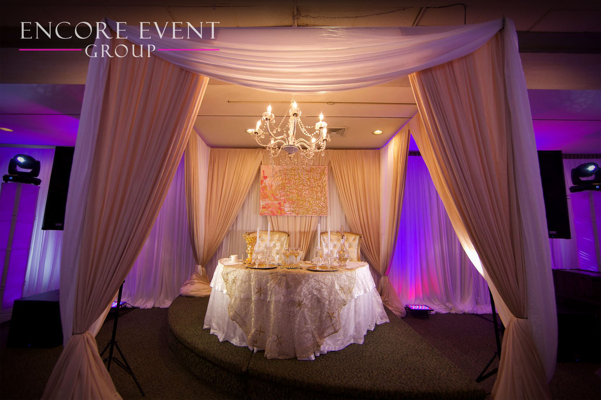 Dearborn Headtable Wedding Drape Thrones