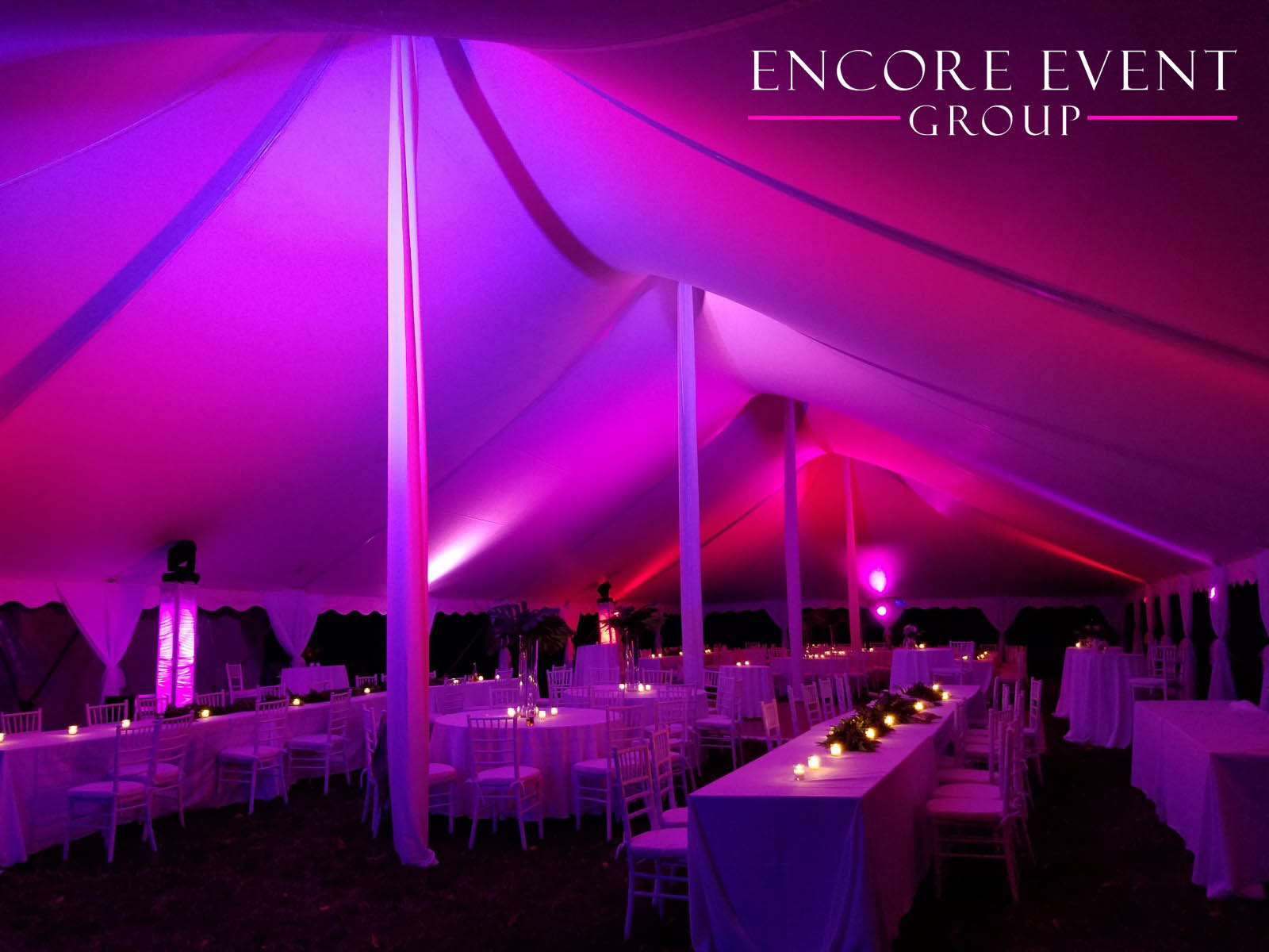 michigan tent canopy uplighting | encore event group
