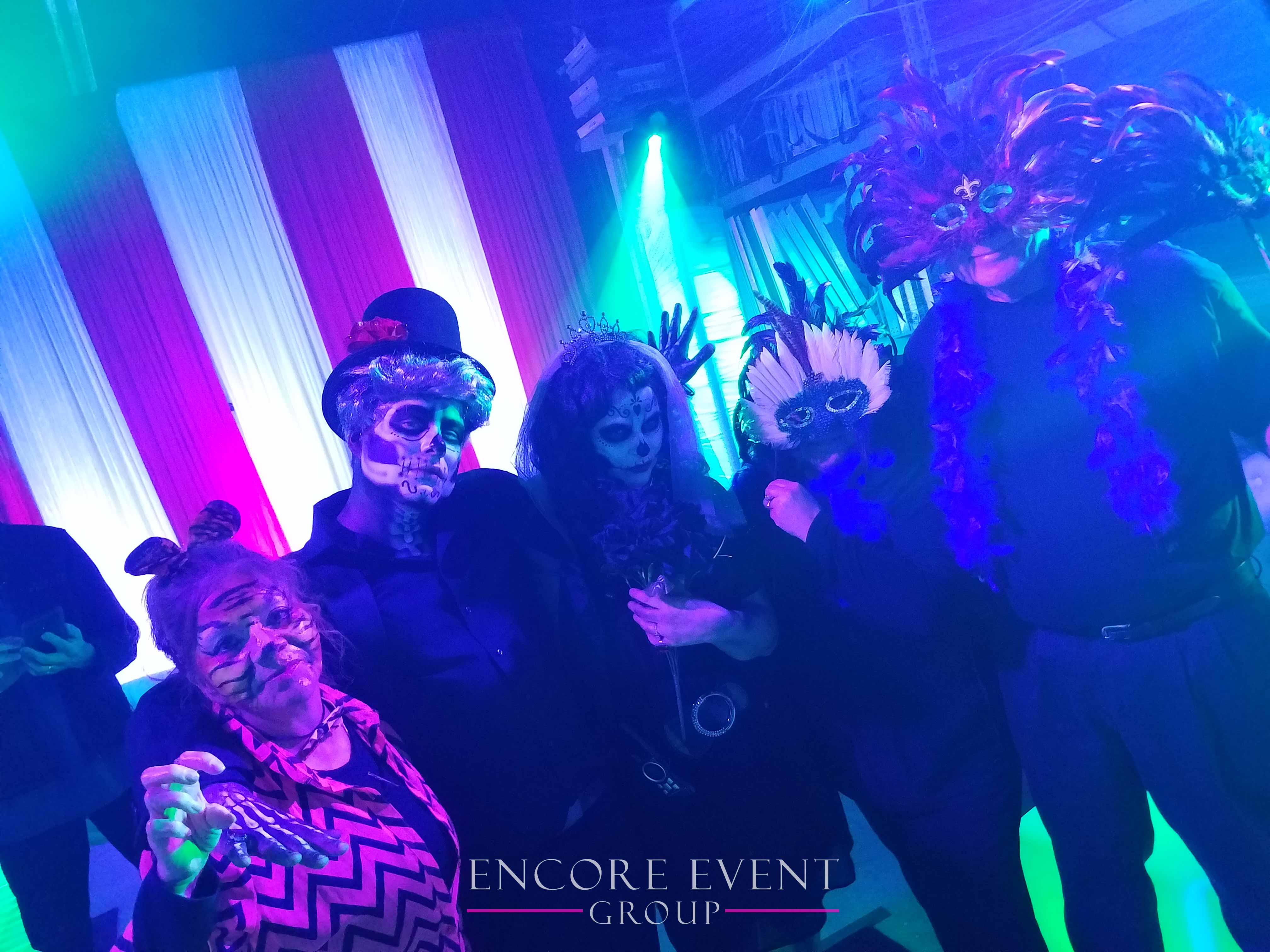 red white michigan halloween draping | encore event group